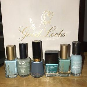 Set of 6 blue polishes